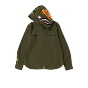 BAPE Shark Flannel Hoodie Shirt Olive 2