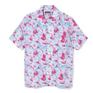 BAPE Store Miami Open Collar Shirt PinkBlue