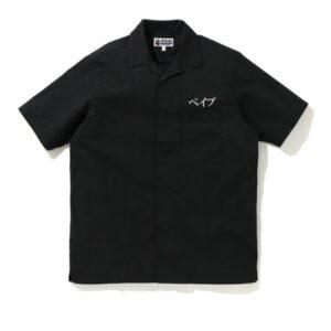 BAPE Embroidery Open Collar Shirt Black
