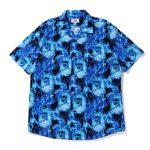 BAPE Flame Open Collar Shirt Blue