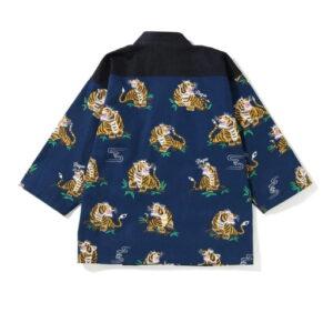 BAPE Tiger Pattern Kimono Shirt Navy 1