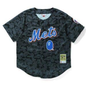 BAPE x Mitchell Ness Mets Jersey Black