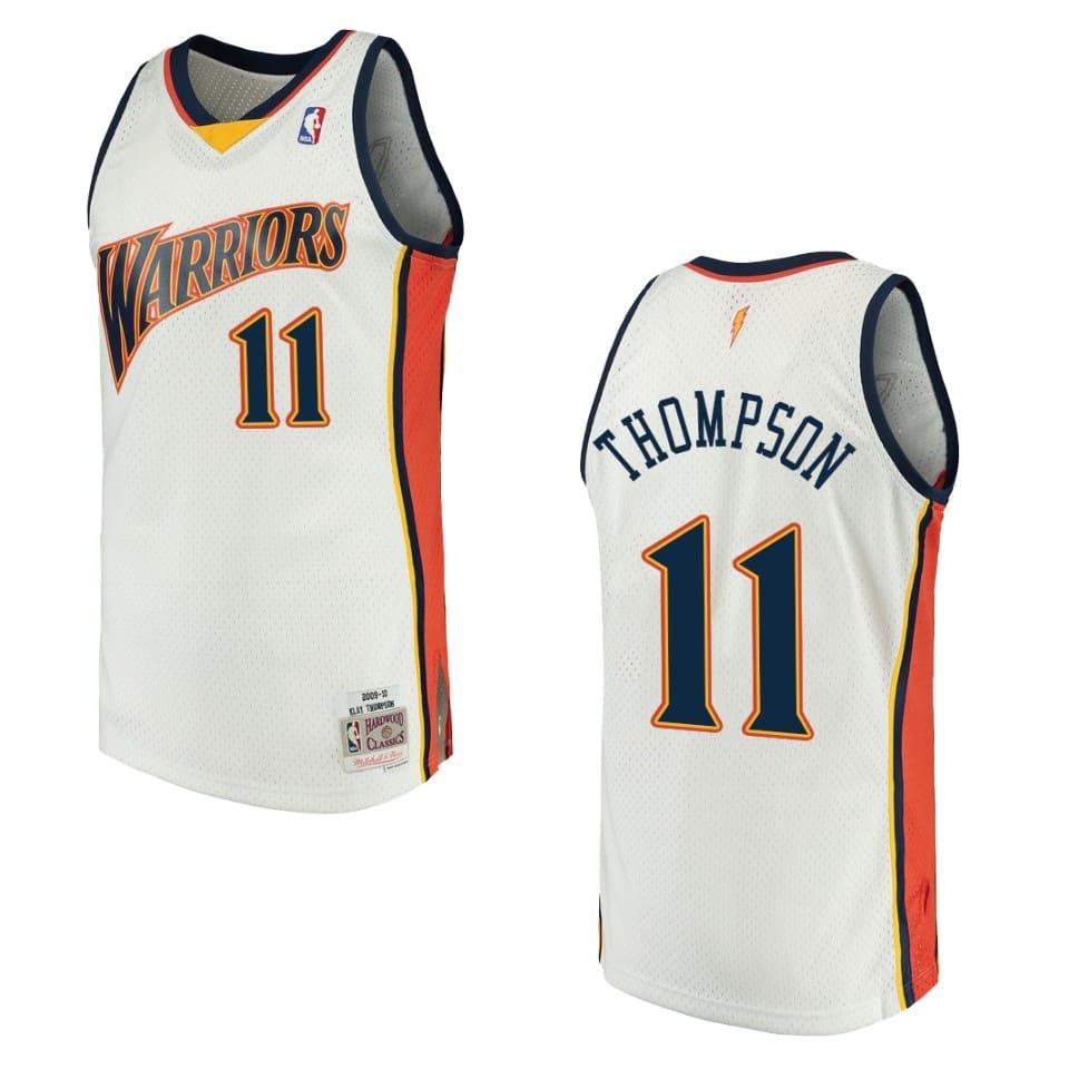 mens 2009 10 warriors klay thompson hardwood classics jersey white