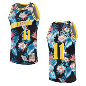 mens warriors klay thompson floral fashion jersey black