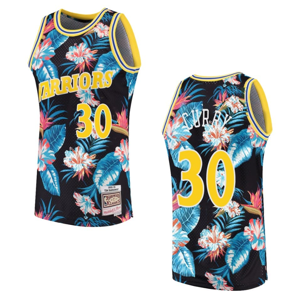 mens warriors stephen curry floral fashion jersey black