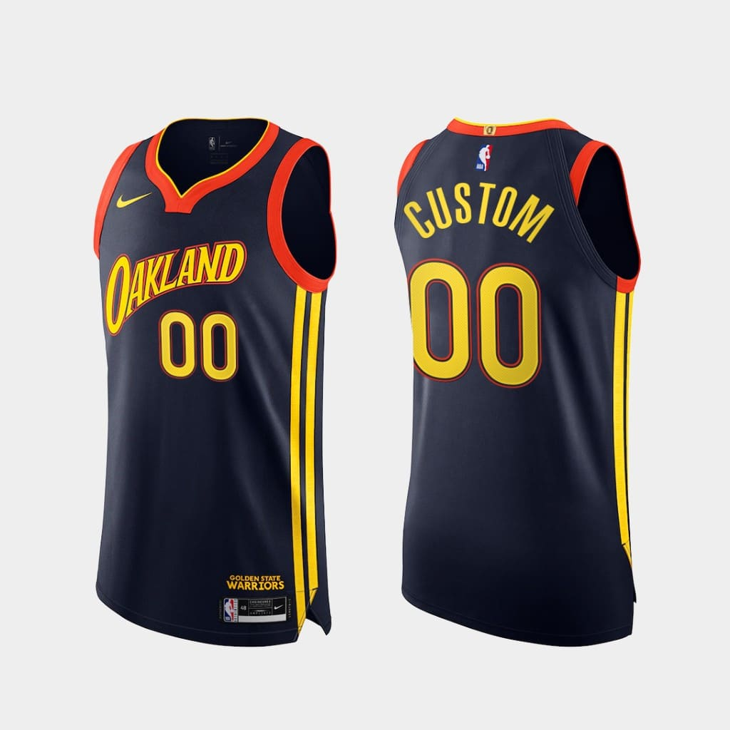custom warriors 2020 21 navy authentic city edition jersey