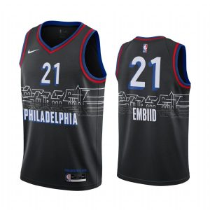 joel embiid 76ers black city edition boathouse row jersey