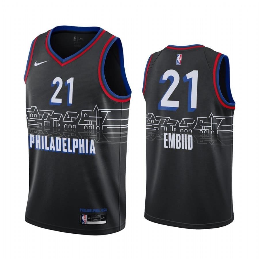 joel embiid 76ers black city edition boathouse row jersey