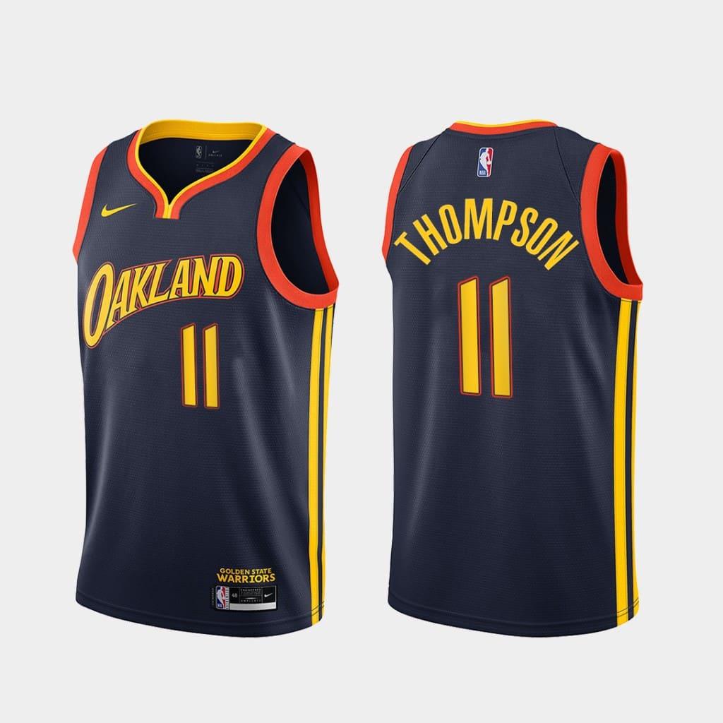 klay thompson warriors 2020 21 navy city edition jersey