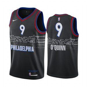 kyle oquinn 76ers black city edition boathouse row jersey