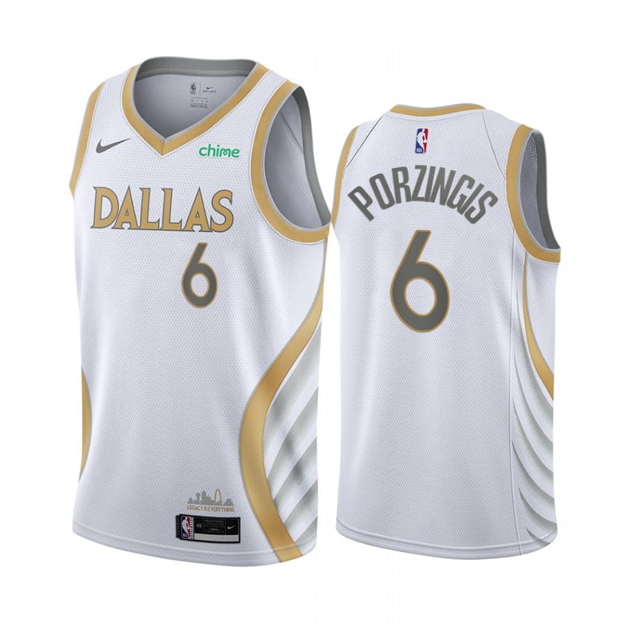 mavericks kristaps porzingis white city edition gold silver logo jersey 1