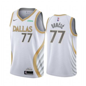 mavericks luka doncic white city edition gold silver logo jersey 1
