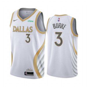 mavericks trey burke white city edition gold silver logo jersey 1