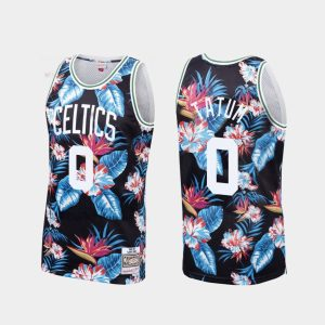 mens celtics jayson tatum black floral fashion jersey
