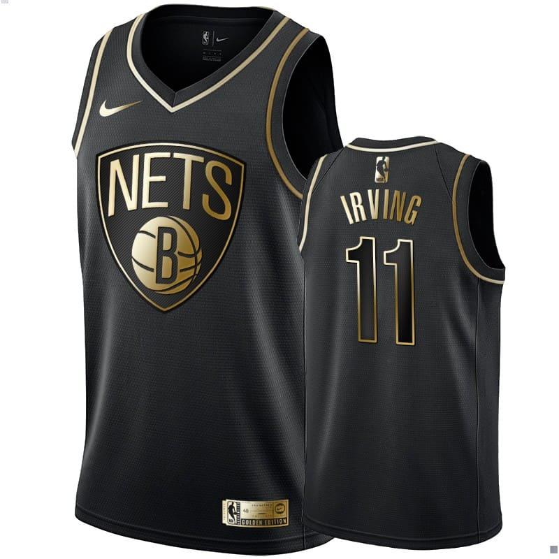 mens kyrie irving black golden edition jersey