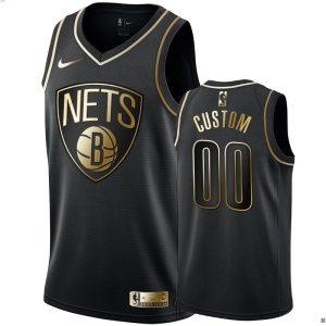mens nets custom black golden edition jersey