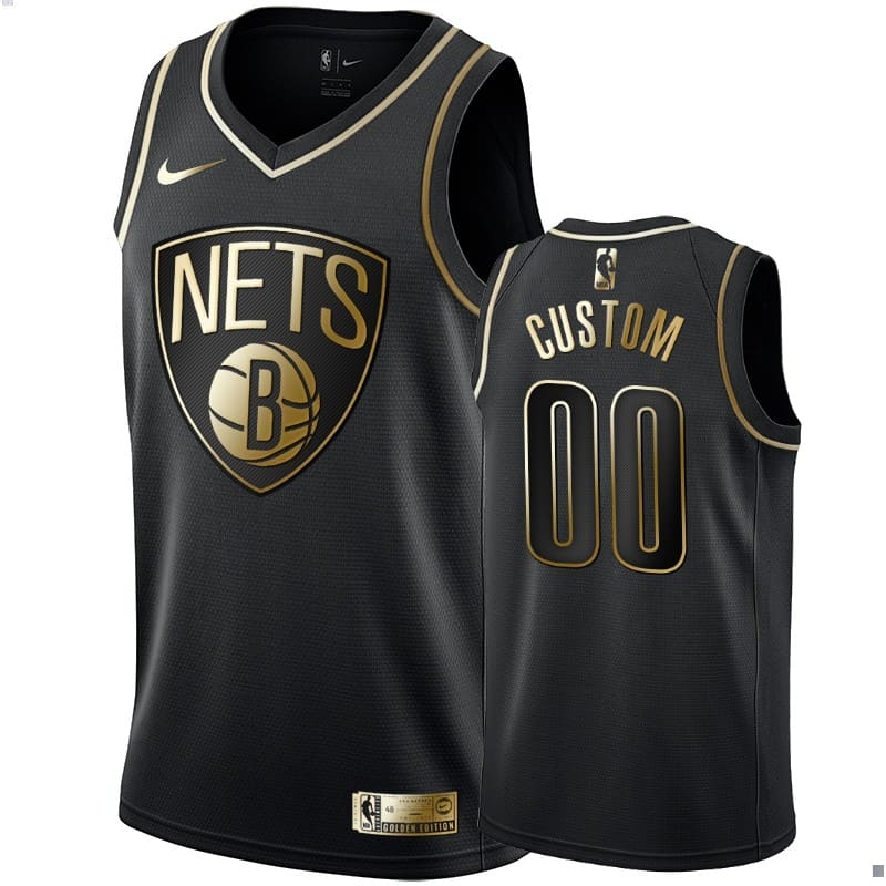 mens nets custom black golden edition jersey