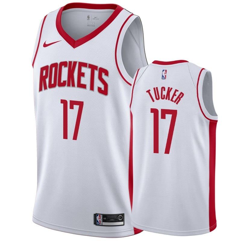 mens rockets p.j. tucker white association jersey