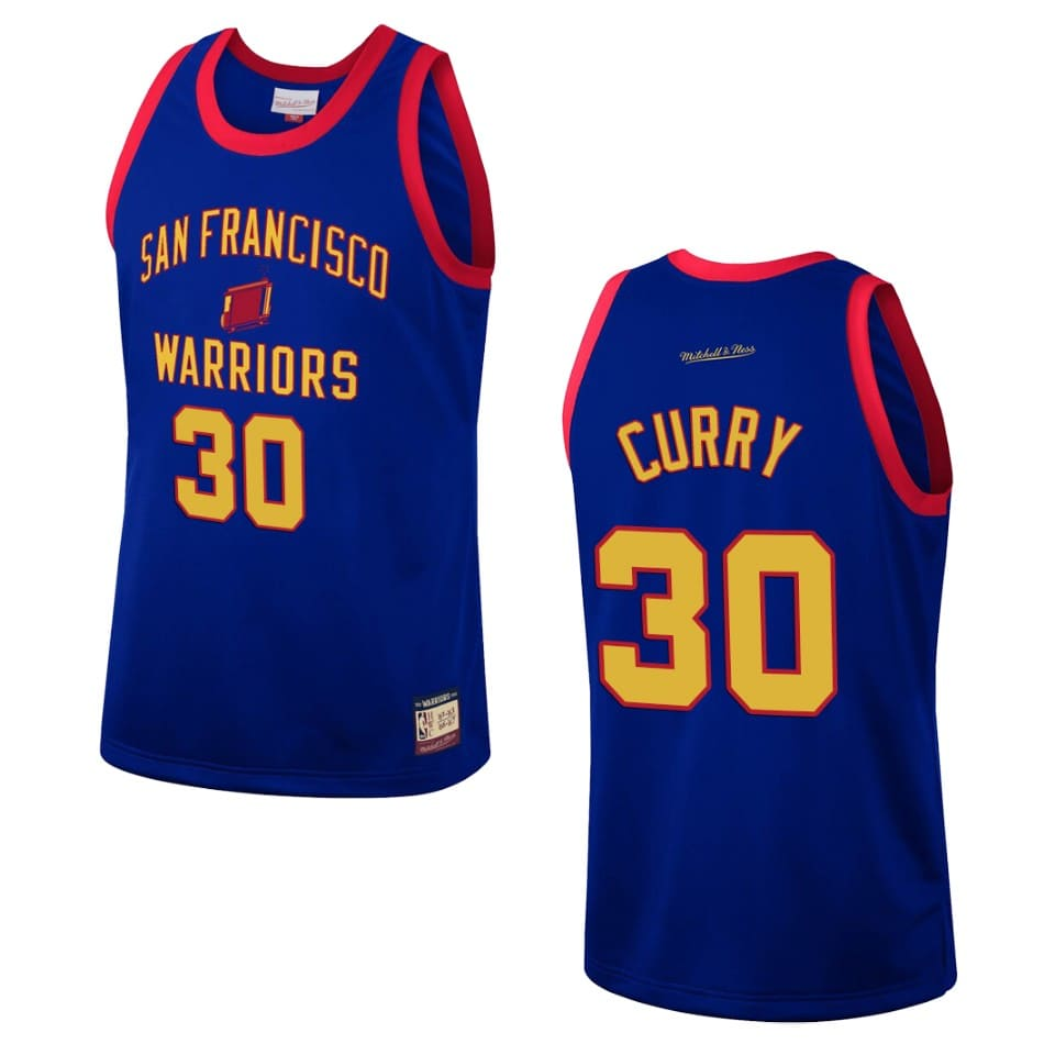 mens san francisco warriors stephen curry team heritage jersey royal