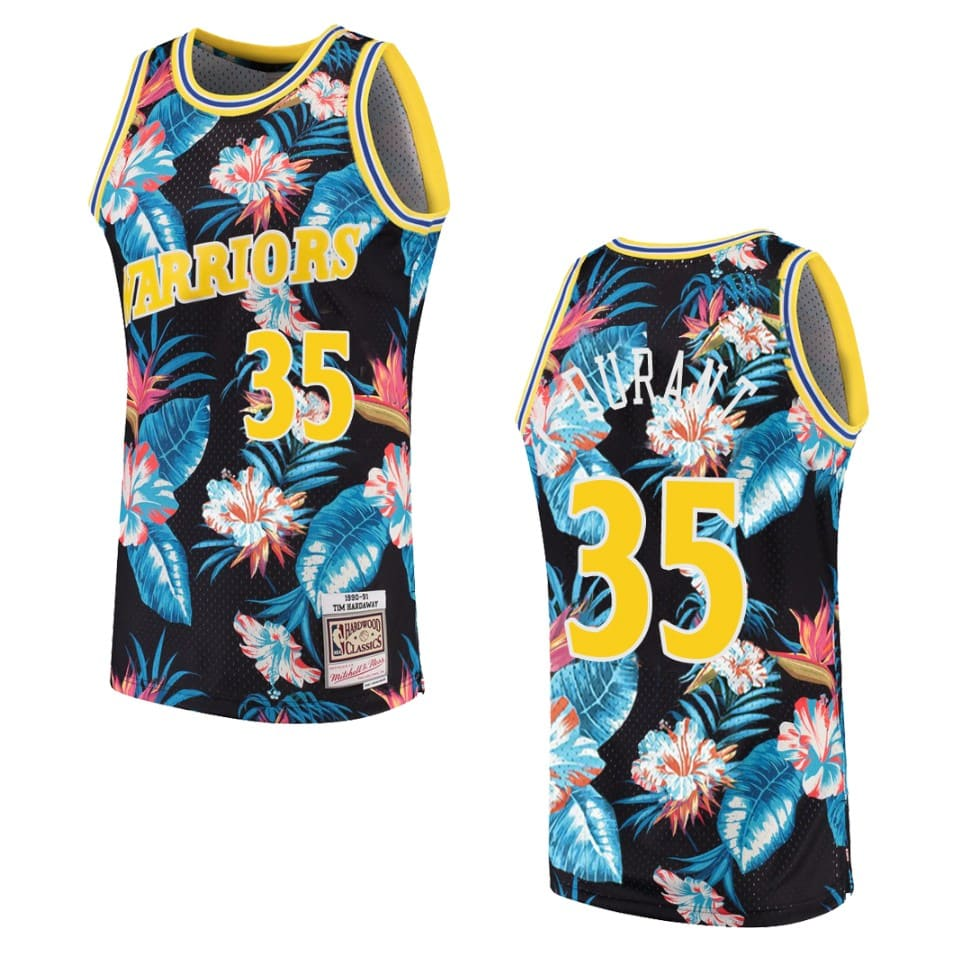 mens warriors kevin durant floral fashion jersey black