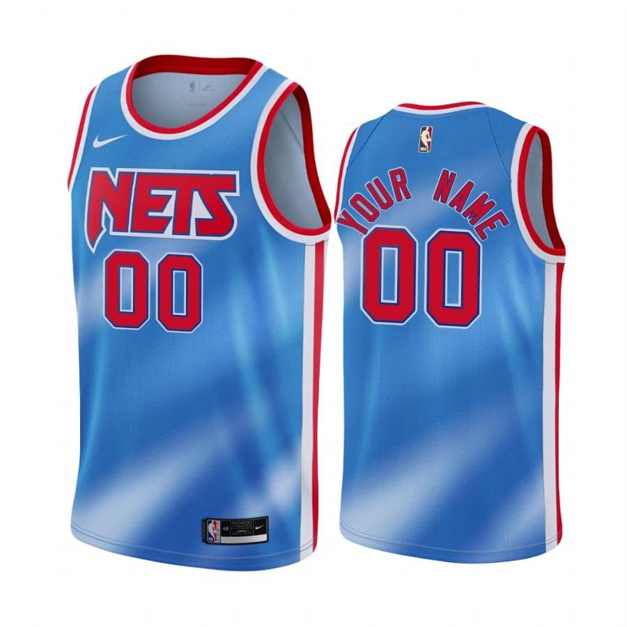 nets custom blue classic edition new uniform jersey