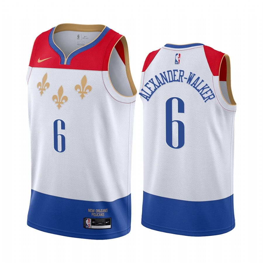 nickeil alexander walker pelicans white city 2021 22 jersey