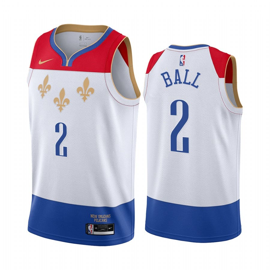 pelicans lonzo ball white city edition fleur de lis jersey