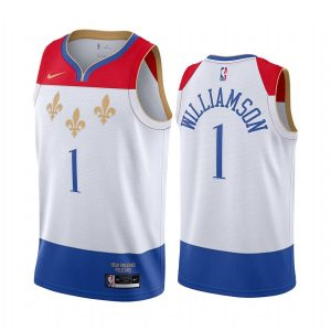 pelicans zion williamson white city edition fleur de lis jersey