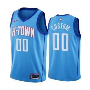 rockets custom blue city h town jersey