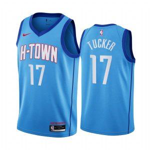 rockets p.j. tucker blue city h town jersey