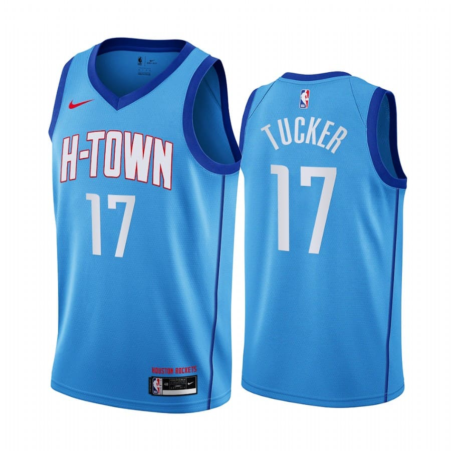 rockets p.j. tucker blue city h town jersey