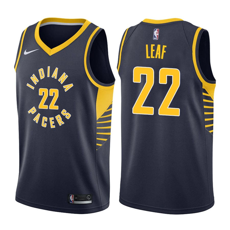 t.j. leaf navy pacers 2017 18 icon jersey