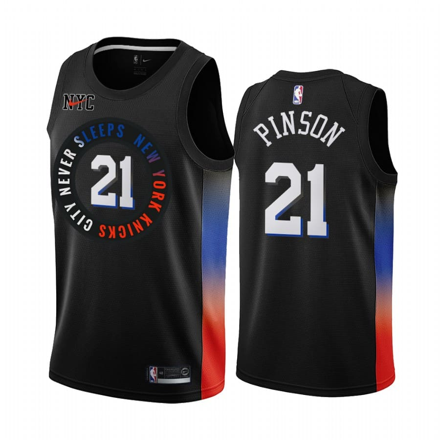 theo pinson knicks black city 2020 21 jersey 1