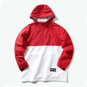 2020 Chicago Bulls Red White Mens Anorak 1