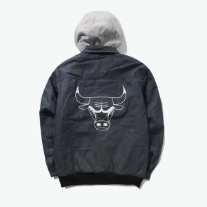 2020 Chikago Bulls Grey Jacket Mens 2
