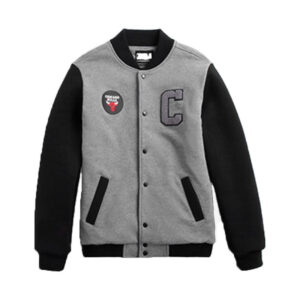 2020 NBA Chicago Bulls Mens Bomber Grey Black 1