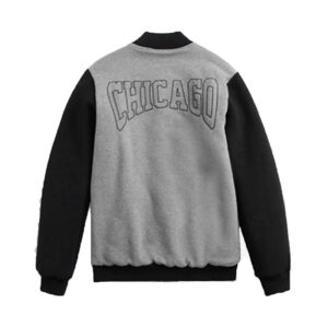 2020 NBA Chicago Bulls Mens Bomber Grey Black 2