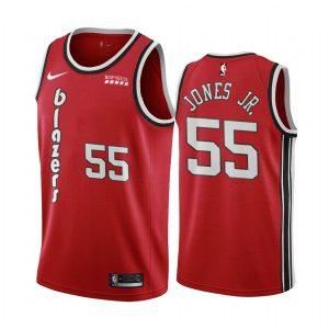 blazers derrick jones jr. red classic 2020 trade jersey 1