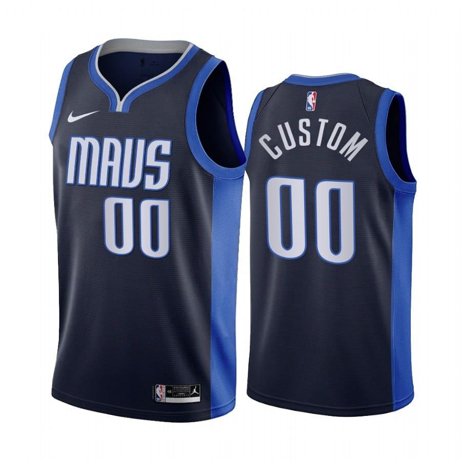 custom mavericks 2020 21 earned edition navy jersey