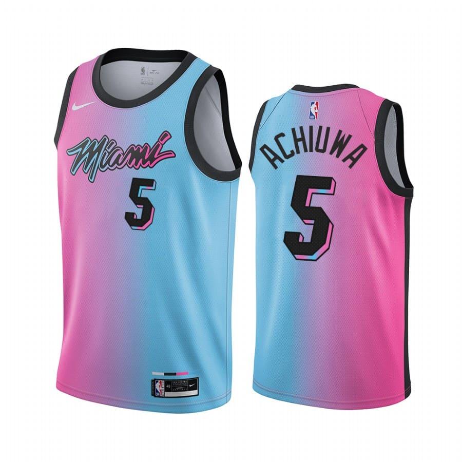 heat precious achiuwa blue pink rainbow city 2020 nba draft jersey 1