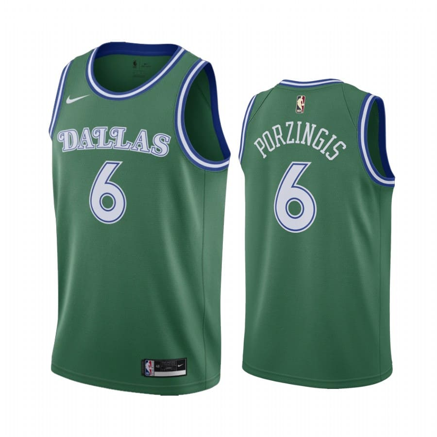 kristaps porzingis mavericks green 2020 classic edition original 1980 jersey 1