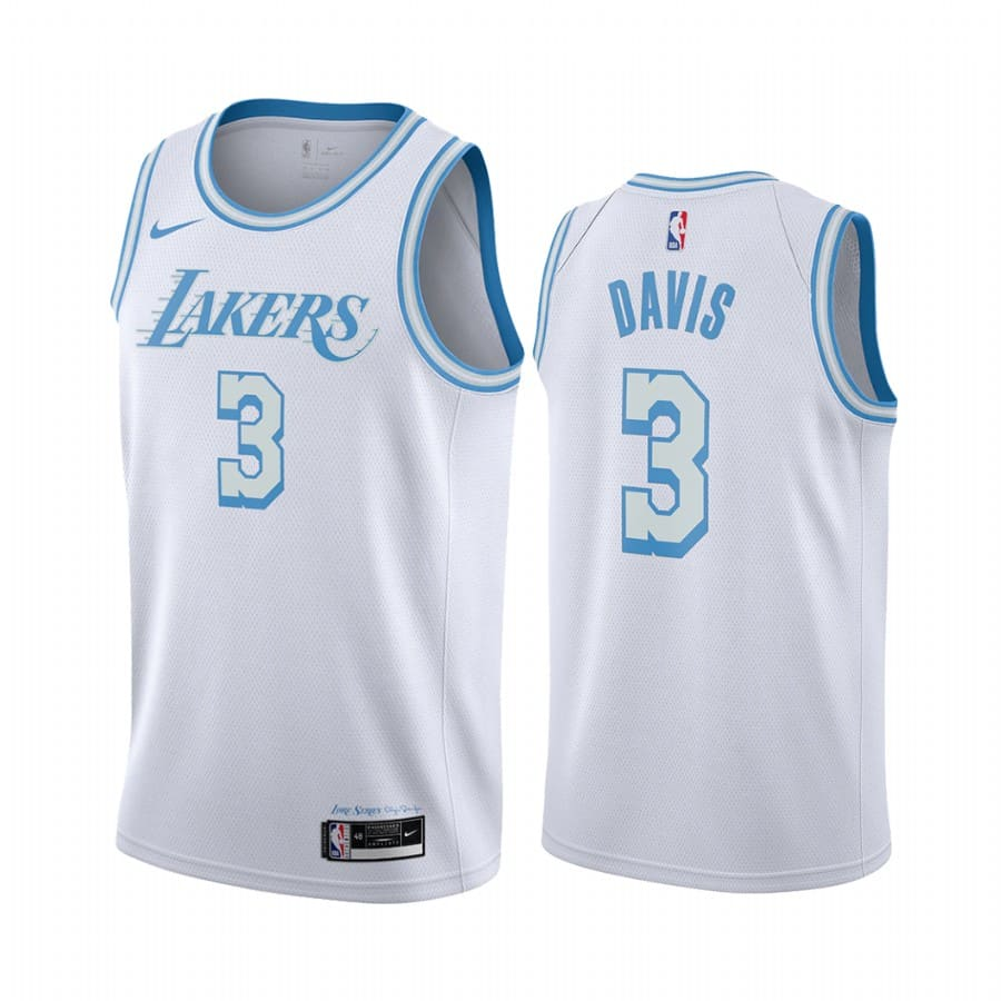 lakers anthony davis white city edition new blue silver logo jersey