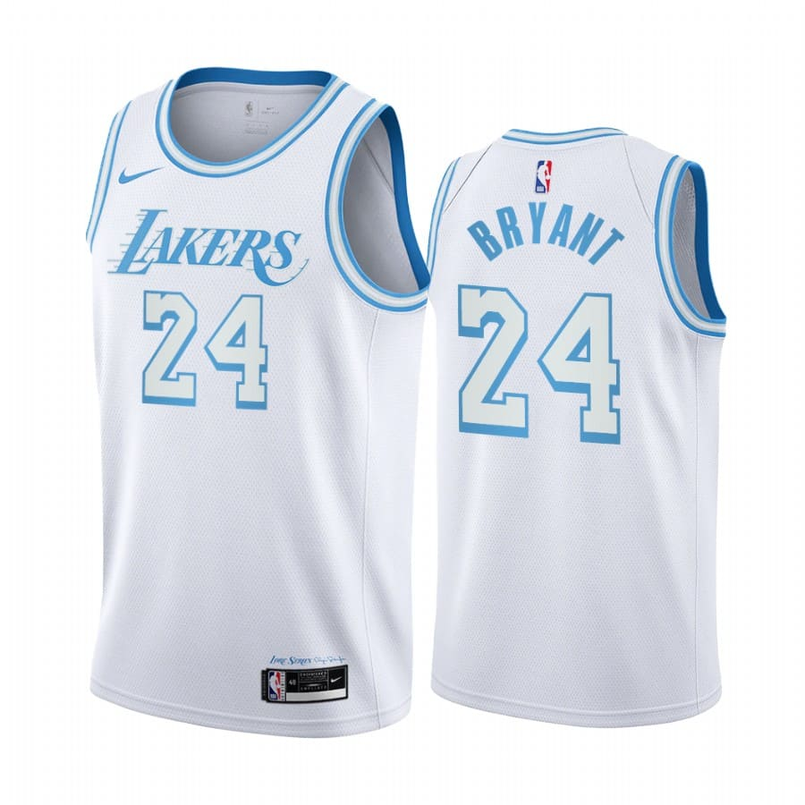 lakers kobe bryant white city edition new blue silver logo jersey