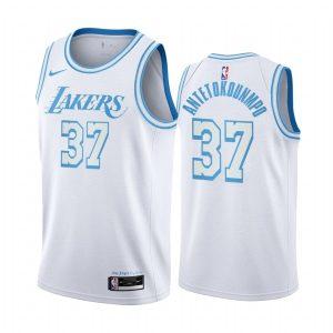 lakers kostas antetokounmpo white city edition blue silver logo jersey