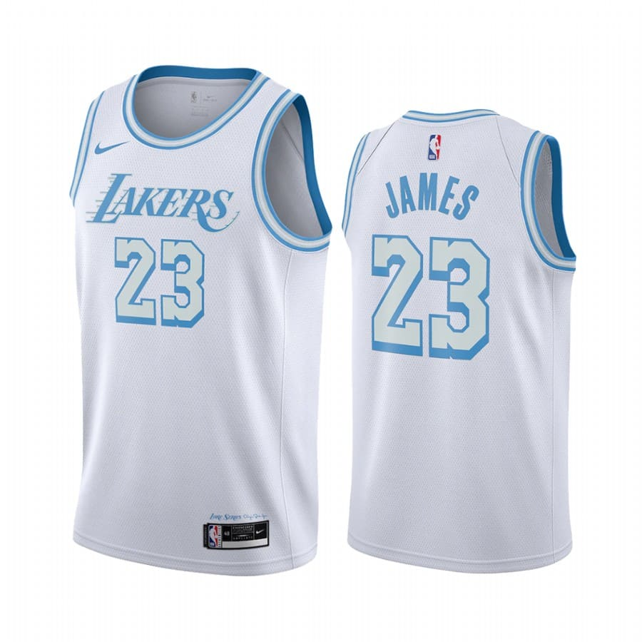 lakers lebron james white city edition new blue silver logo jersey
