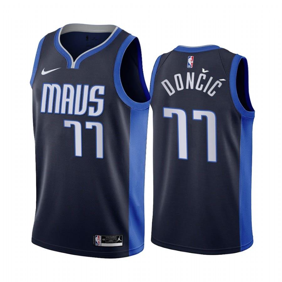 luka doncic mavericks 2020 21 earned edition navy jersey