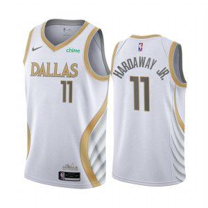 mavericks tim hardaway jr. white city edition gold silver logo jersey 1