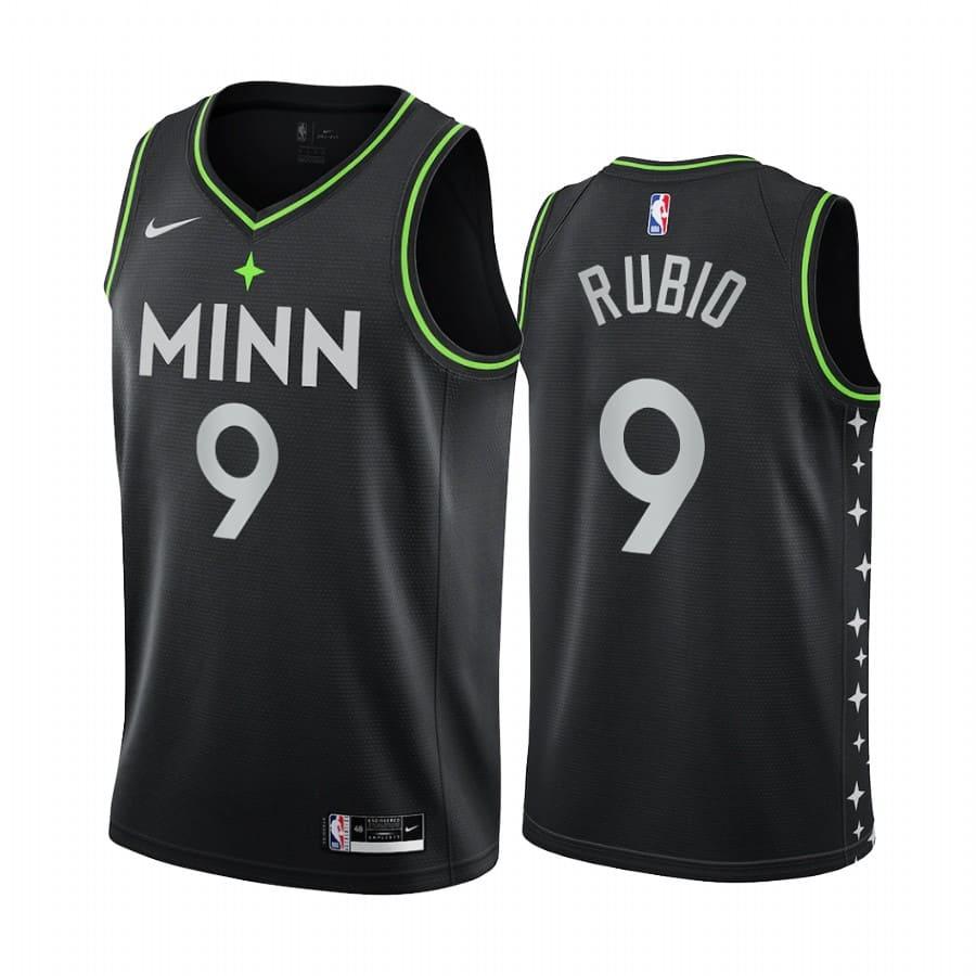 ricky rubio timberwolves black city edition 2020 21 jersey 1