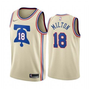 shake milton 76ers 2020 21 earned edition cream jersey