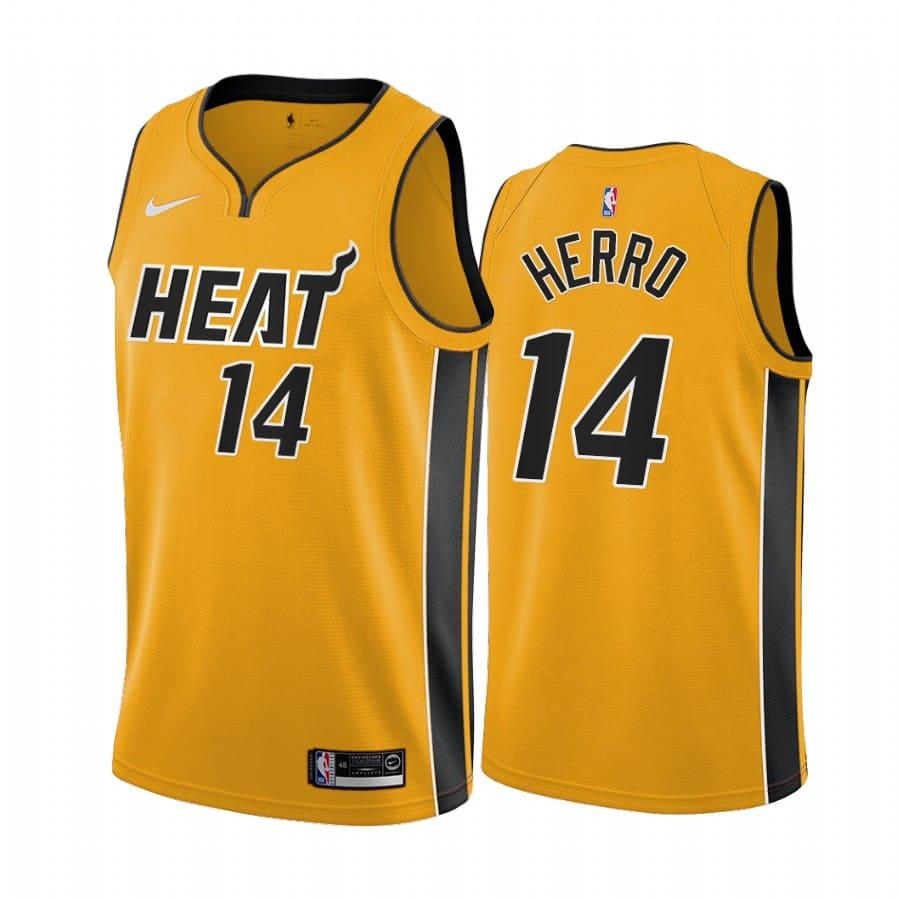 tyler herro heat 2020 21 earned edition yellow jersey